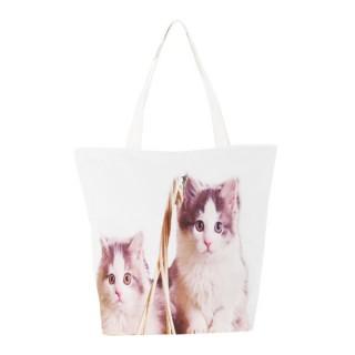 Bolso blanco de gatos