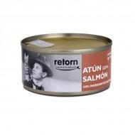 Latas de comida de Atún con Salmon