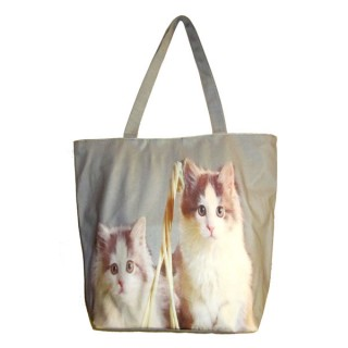 Bolso gris de gatos