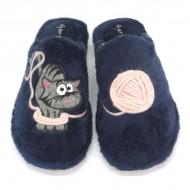 Zapatillas gato y ovillo de lana - Azul Marino