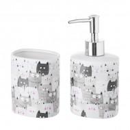 Set baño gato blanco y negro