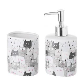 Set baño gato cerámica