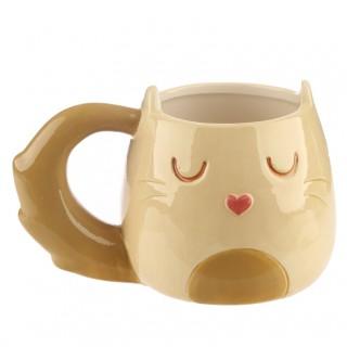 Taza con forma de gato - Crema