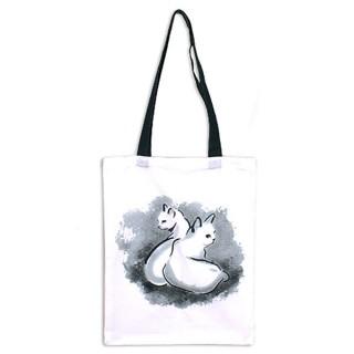 Bolsa de tela con diseño de dos gatos