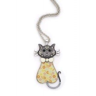 Colgante gato amarillo con flores