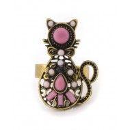 Anillo gato perlas rosa