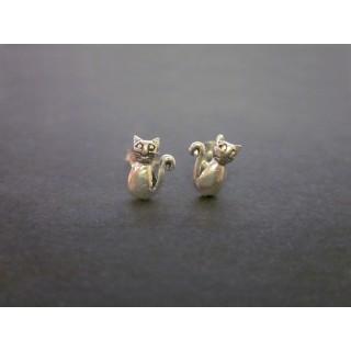 Pendientes gato plata