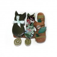 Broche 2 gatos Verde