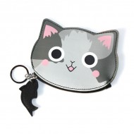 Monedero carita gato gris